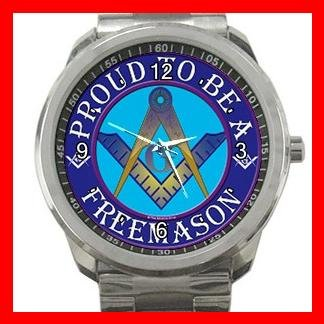 FREEMASONRY MASON MASONIC PRIDE Silvertone Sports Metal Watch 102