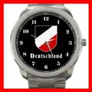 German Tricolor Shield Silvertone Sports Metal Watch 110