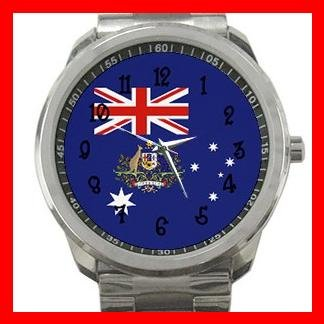 Australia Flag Nation Patriotic Silvertone Sports Metal Watch 111