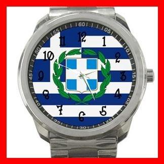 Greek Flag Greece Nation Patriotic Silvertone Sports Metal Watch 114