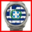 Greek Flag Greece Nation Patriotic Silvertone Sports Metal Watch 114