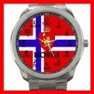 Norwegian Flag Norway Nation Patriotic Silvertone Sports Metal Watch 115