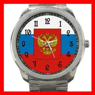 Russian Flag Russia Nation Patriotic Silvertone Sports Metal Watch 117