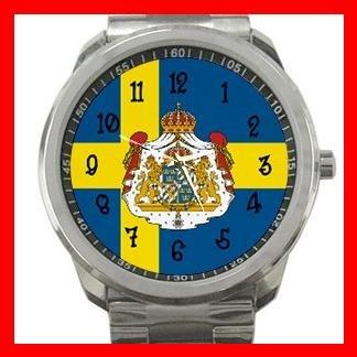 Swedish Flag Sweden Nation Patriotic Silvertone Sports Metal Watch 119