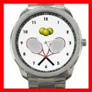 Tennis Racques Crossed Game Silvertone Sports Metal Watch 122