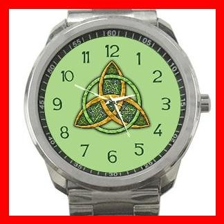 Celtic Trinity Knot Mythical Symbol Silvertone Sports Metal Watch 123