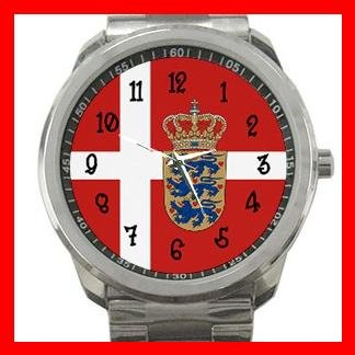 Danish Flag Nation Patriotic Silvertone Sports Metal Watch 124