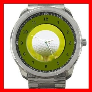 Golf Ball Sports Game Fun Silvertone Sports Metal Watch 125