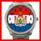 Netherlands Flag Nation Silvertone Sports Metal Watch 126
