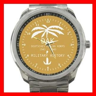 Afrika Korps Germany Military Army Silvertone Sports Metal Watch 129