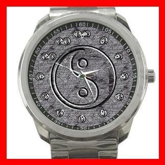 Silver Ying Yang Symbol Silvertone Sports Metal Watch 131
