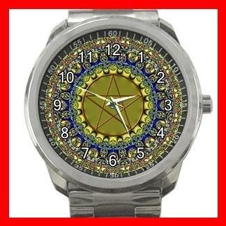 Wicca Psychedic Pagan Pentacle Silvertone Sports Metal Watch 135