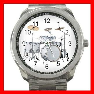 WHITE DRUMMER DRUMS MUSIC Silvertone Sports Metal Watch 137
