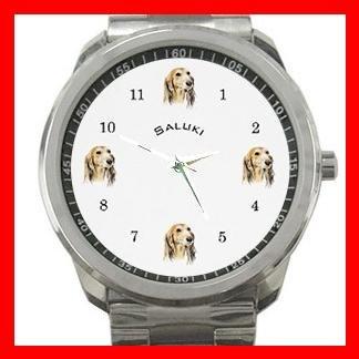 Saluki Dog Pet Puppy Animals Silvertone Sports Metal Watch 138