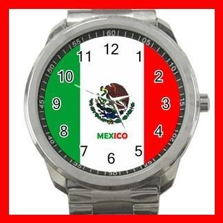 Mexico Flag Nation Patriotic Silvertone Sports Metal Watch 145