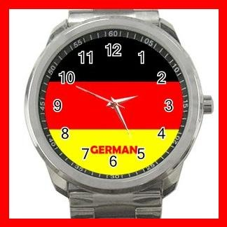 German Flag Nation Patriotic Silvertone Sports Metal Watch 146