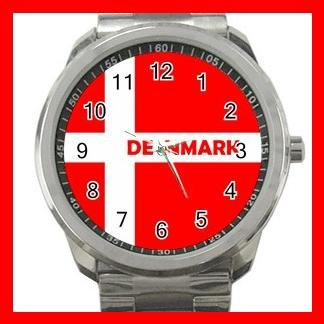Denmark Flag Nation Patriotic Silvertone Sports Metal Watch 148