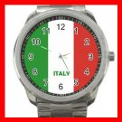 Italy Flag Nation Patriotic Silvertone Sports Metal Watch 149