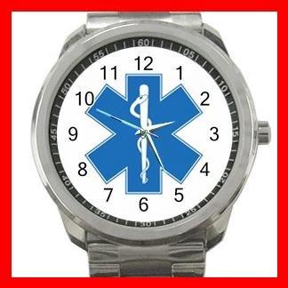Paramedic Caduceus Rescue Care Silvertone Sports Metal Watch 150