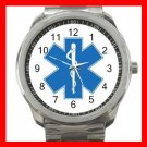 Paramedic Caduceus Rescue Care Silvertone Sports Metal Watch 150