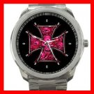 PINK SKULLS CROSS SKELECTON Silvertone Sports Metal Watch 152