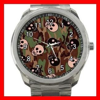 Skulls Skelecton Camo Army Fun Silvertone Sports Metal Watch 153