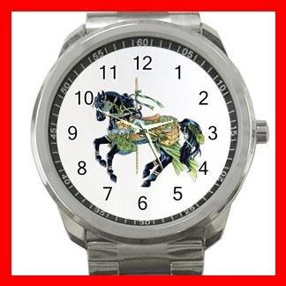 Black Carousel Horse Peacock Fun Silvertone Sports Metal Watch 155