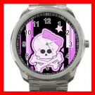 PURPLE GIRLY SKULL SKELECTON Silvertone Sports Metal Watch 157