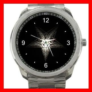 Goat Wicca Pentagram Pentacle Witch Silvertone Sports Metal Watch 159