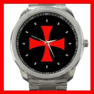 Knights Templar Cross Silvertone Sports Metal Watch 162