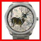 WHITETAIL DEER WILDLIFE SNOW FOREST Silvertone Sports Metal Watch 190