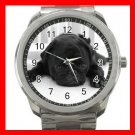 BLACK PUG PET DOG ANIMALS Silvertone Sports Metal Watch 192