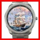 Tall Ships On the Sea Silvertone Sports Metal Watch 196