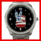 Peace Sign With American Flag Silvertone Sports Metal Watch 207