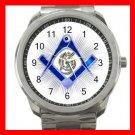 BLUE FREEMASONRY MASON Silvertone Sports Metal Watch 218