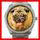Pug Sticking Out Tongue Dog Silvertone Sports Metal Watch 250