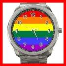 GAY LESBIEN PRIDE FLAG COLOR Silvertone Sports Metal Watch 260