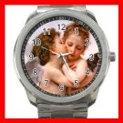 Angels First Kiss Love Silvertone Sports Metal Watch 267