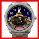 Eiffel Tower Paris France Silvertone Sports Metal Watch 273