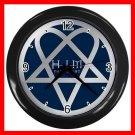 HIM Blue Heartagram Darklight Decor Wall Clock-Black 047