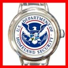 US Department Of Homeland Security Round Italian Charm Wrist Watch 646