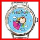 My Hero Super Mum Mother Round Italian Charm Wrist Watch 648