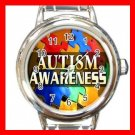 Autism Awareness Hope Round Italian Charm Wrist Watch 653