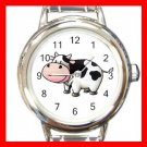 Country Cow Moo Round Italian Charm Wrist Watch 656