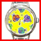 Ladybugs Colorful Cute Yellow Round Italian Charm Wrist Watch 657