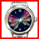 Colorful Neon Scene Butterfly Round Italian Charm Wrist Watch 658