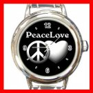 Peace And Love Round Italian Charm Wrist Watch 669