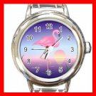 Pink Flamingo Exotic Bird Round Italian Charm Wrist Watch 676