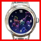 Dancing Music Notes Fun Round Italian Charm Wrist Watch 680