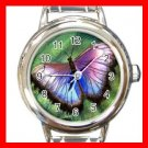 Unique Butterfly Round Italian Charm Wrist Watch 682